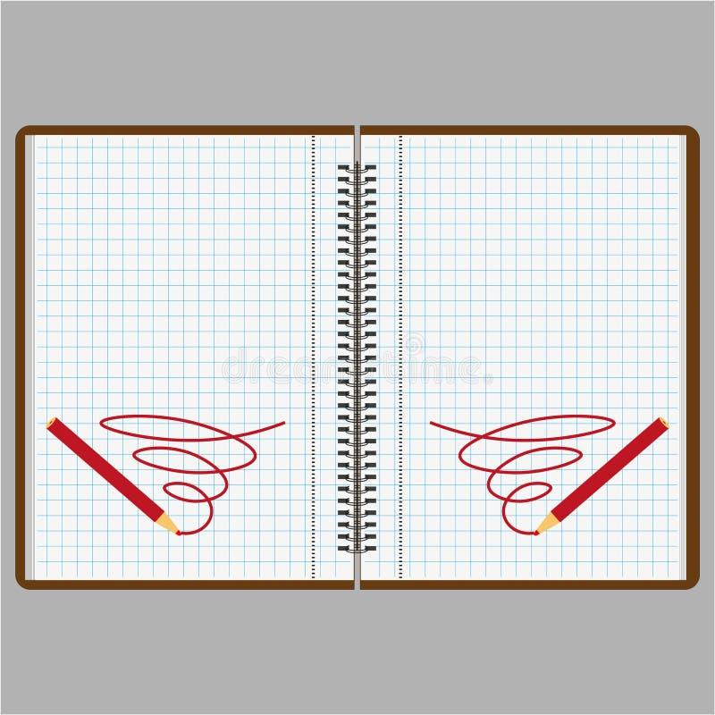 Un cuaderno o un diario con las páginas en una caja stock de ilustración