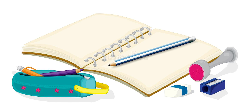 Un cuaderno vacío, lápices, una caja de lápiz, un borrador y un sostenido stock de ilustración