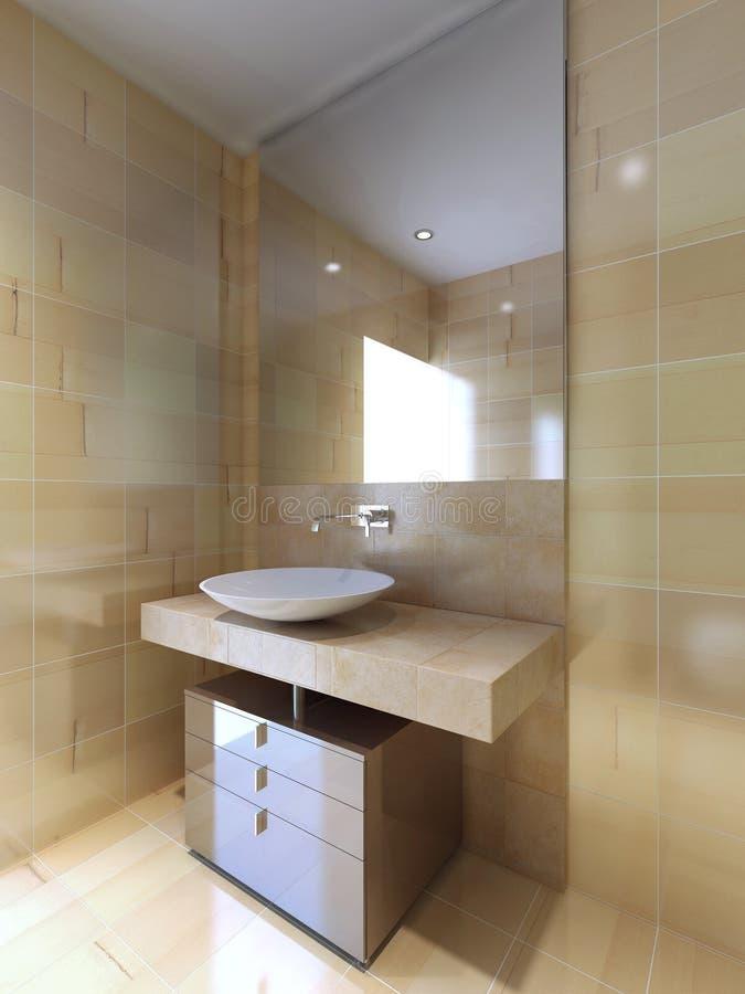 Un cuarto de ba o moderno con la consola del fregadero en for Cuartos de bano beige