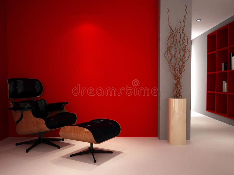 Un cuarto de estudio rojo de lujo fotos de archivo
