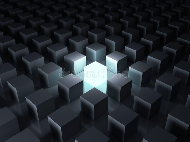 Un cube léger rougeoyant brillant entre d'autres faibles cubes à l'arrière-plan foncé de nuit avec des réflexions illustration stock