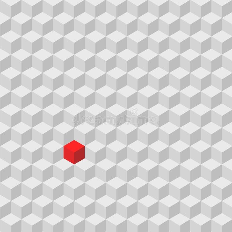 Un cube rouge se tenant parmi la foule du cube gris, différence c illustration libre de droits