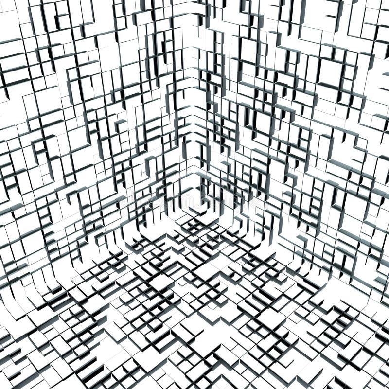 un cubo astratto della 01 casella 3d all'interno illustrazione vettoriale