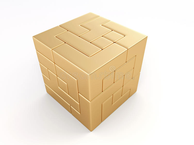Un cubo construido de bloques. Rompecabezas stock de ilustración