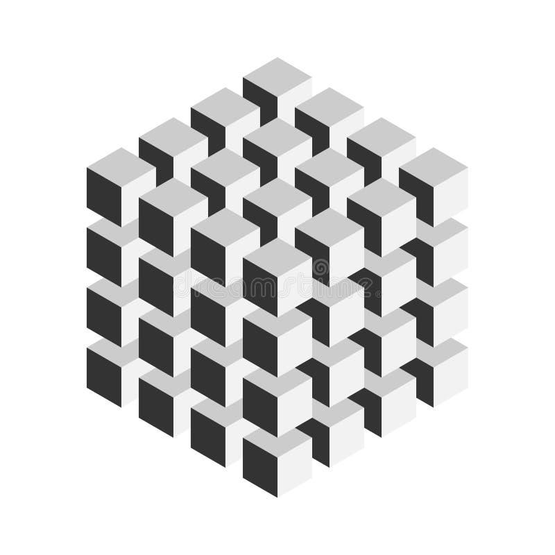 Un cubo geometrico grigio di 64 più piccoli cubi isometrici Elemento astratto di disegno Scienza o concetto della costruzione vet illustrazione di stock