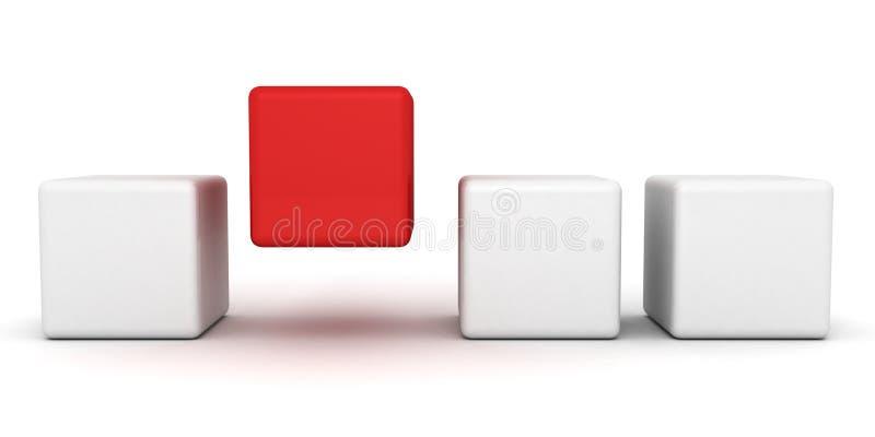 Un cubo rosso unico di individualità che si leva in piedi fuori