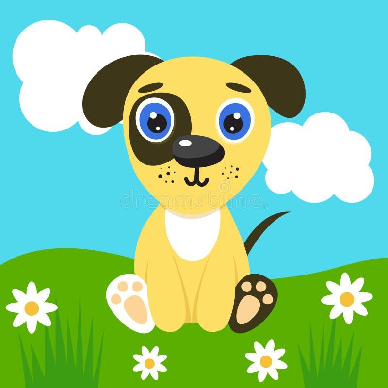Un cucciolo per illustrazioni carine per bambini Nursery, cane simpatico Carattere vettoriale sullo sfondo della natura Cielo azz royalty illustrazione gratis