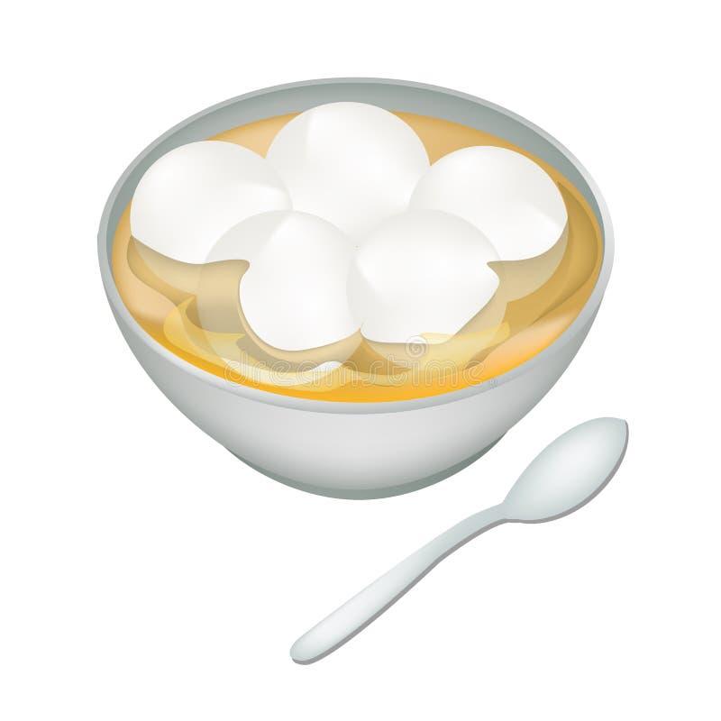Un cuenco de bolas de masa hervida dulces en Ginger Tea ilustración del vector