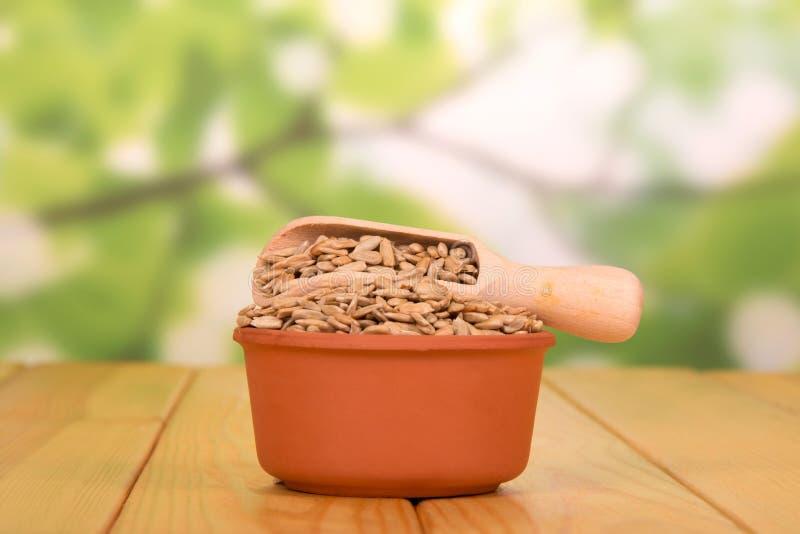 Un cuenco y una cucharada de madera con las semillas de girasol fritas peladas en fotos de archivo