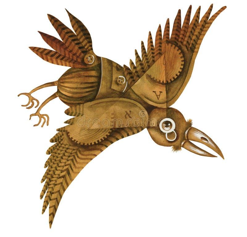 Un cuervo con los engranajes libre illustration