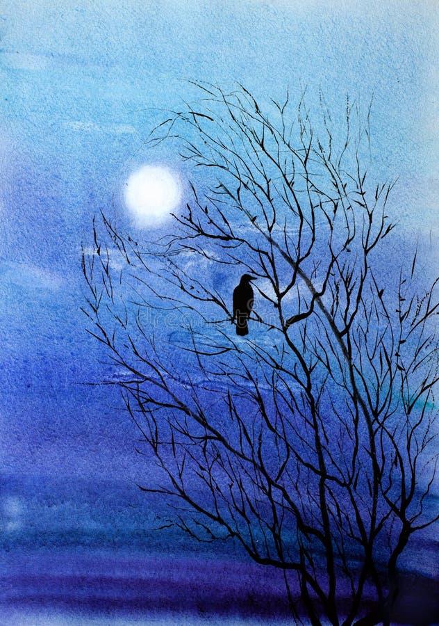 Un cuervo solitario stock de ilustración