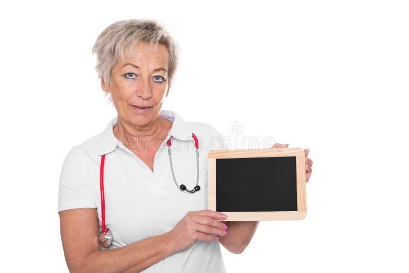 Un cuidador con el tablero vacío foto de archivo