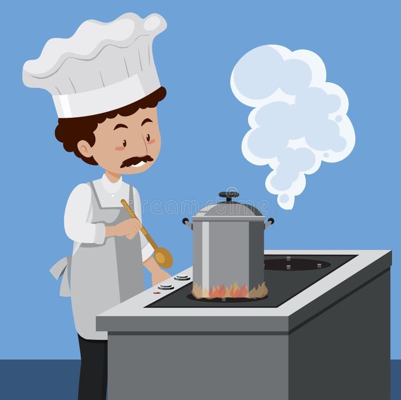 Un cuoco unico che cucina con la pentola a pressione illustrazione vettoriale