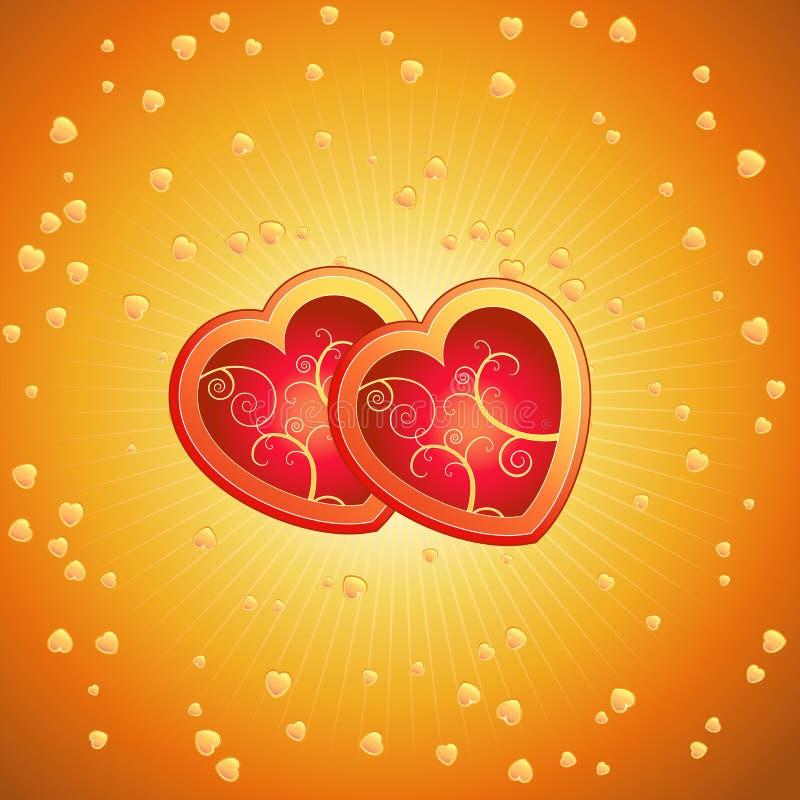 Un cuore di due colori rossi, vettore illustrazione vettoriale