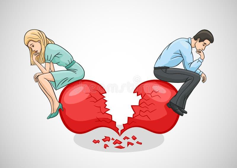 Un cuore rotto ed il disordine di amore illustrazione di stock