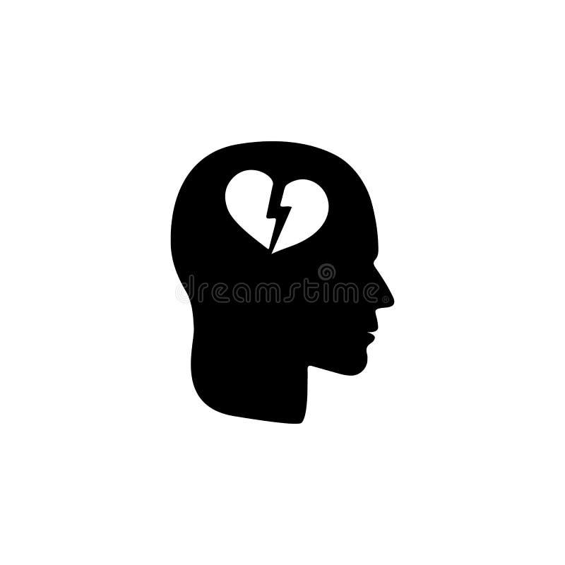 un cuore rotto nell'icona capa Illustrazione di disturbo psicologico dell'icona della gente Progettazione grafica di qualità prem illustrazione vettoriale
