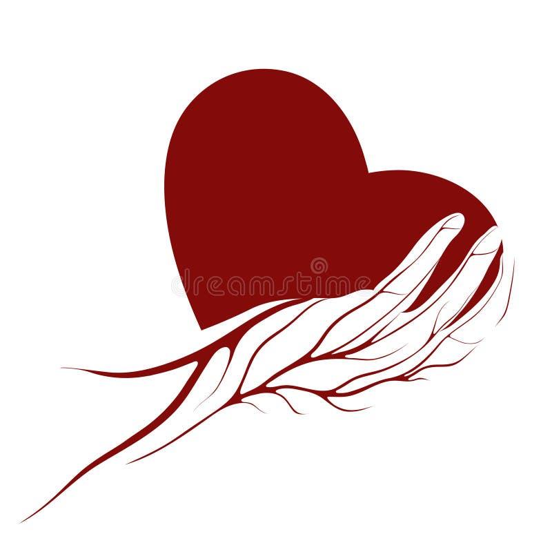 Un cuore in un marchio o in un segno della mano immagine stock