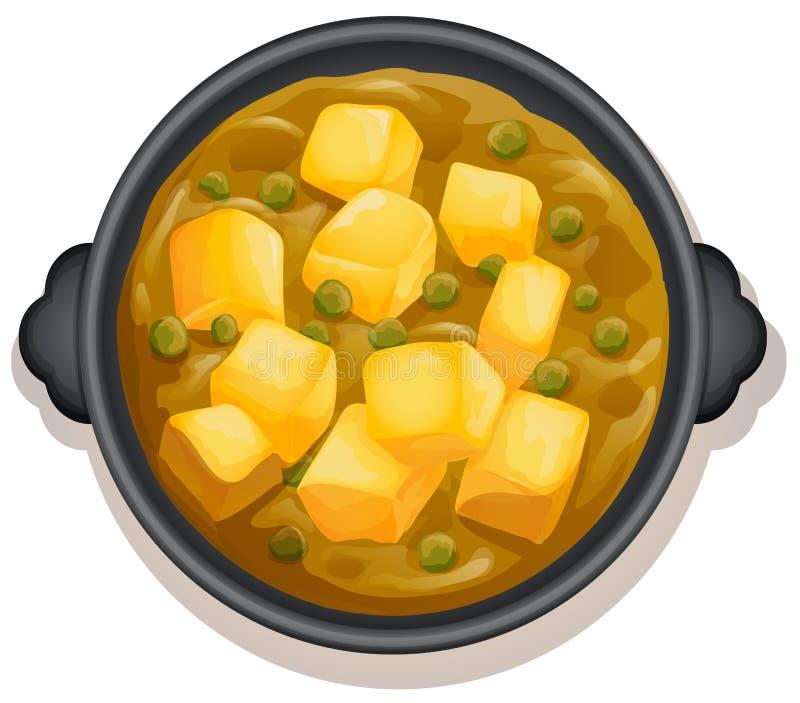 Un curry amarillo en la cacerola caliente stock de ilustración