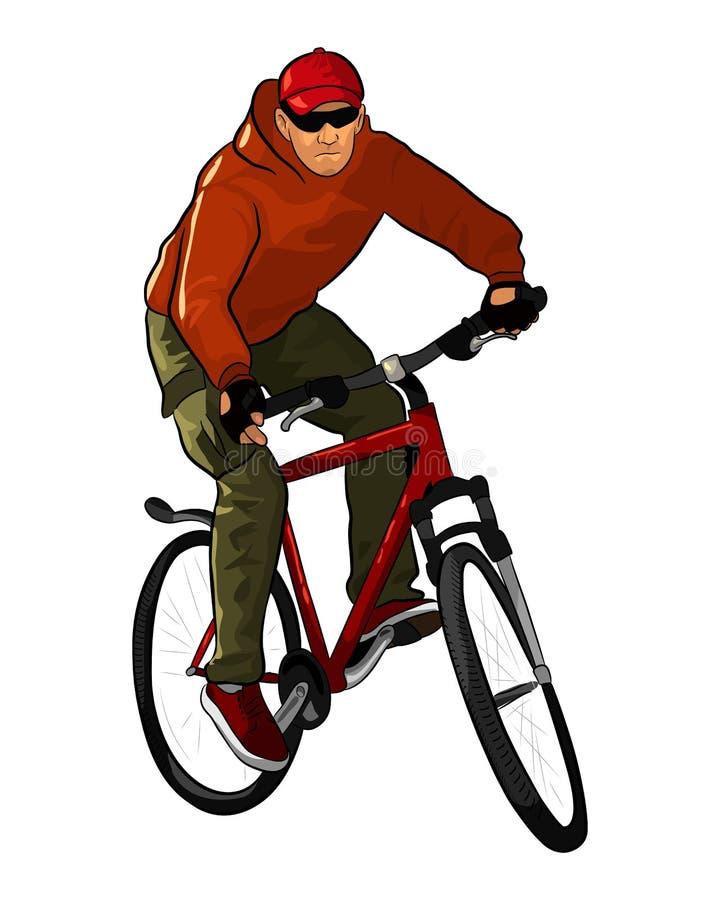 Un cycliste masculin montant une bicyclette de montagne sur le fond blanc Illustration de dessin de main illustration libre de droits