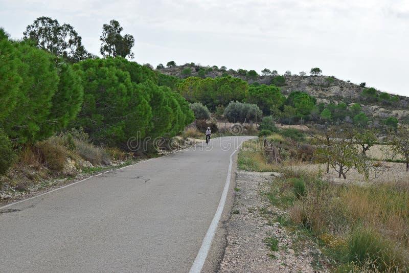 Un cycliste montant vers le haut d'une colline photos libres de droits