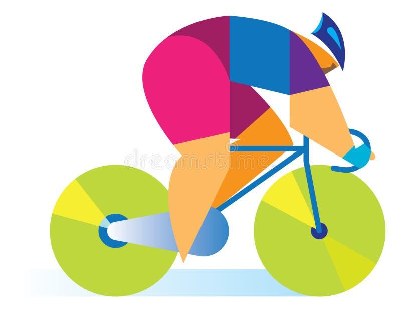 Un cycliste sur la route illustration libre de droits