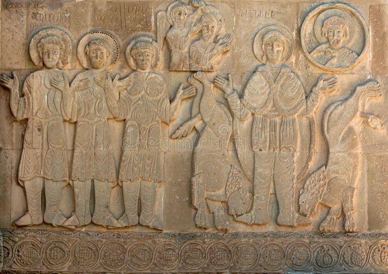 Un découpage en pierre sur le mur d'exter de l'Akdamar magnifique Killisesi sur l'île d'Akdamar sur le lac Van en Turquie orienta photographie stock