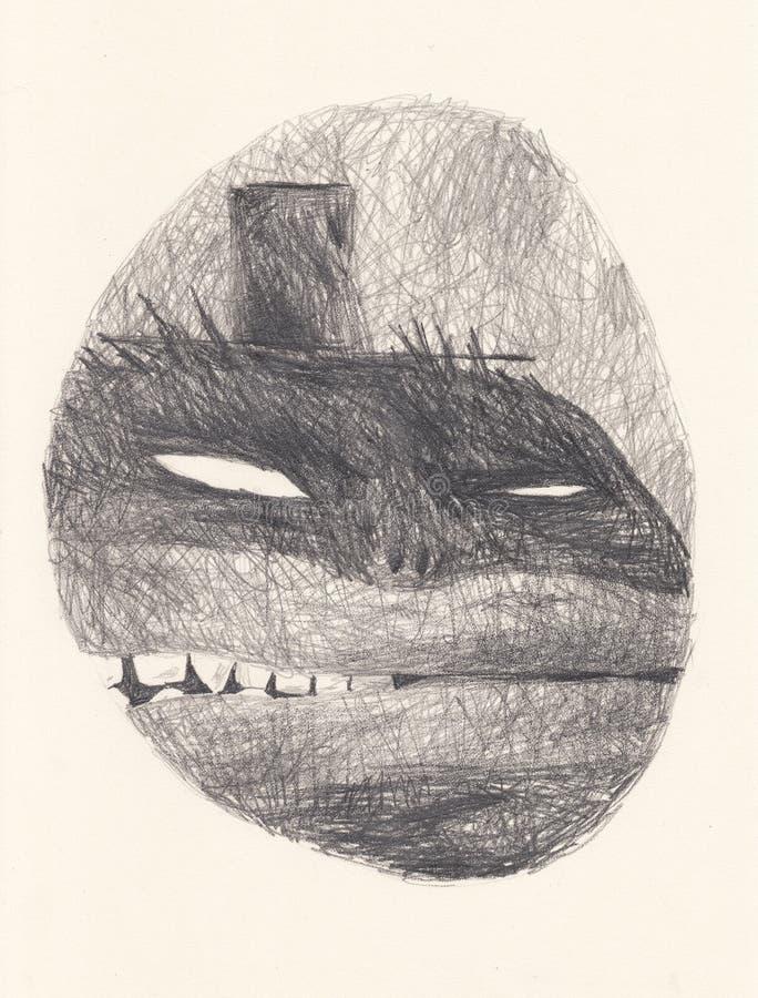 Un démon cruel et insidieux dans le cylindre Bien adapté pour la conception intérieure et la publication dans la magazine illustration stock
