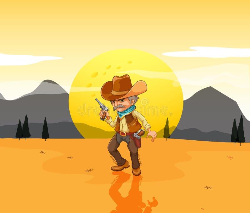 Un désert avec un cowboy armé illustration libre de droits