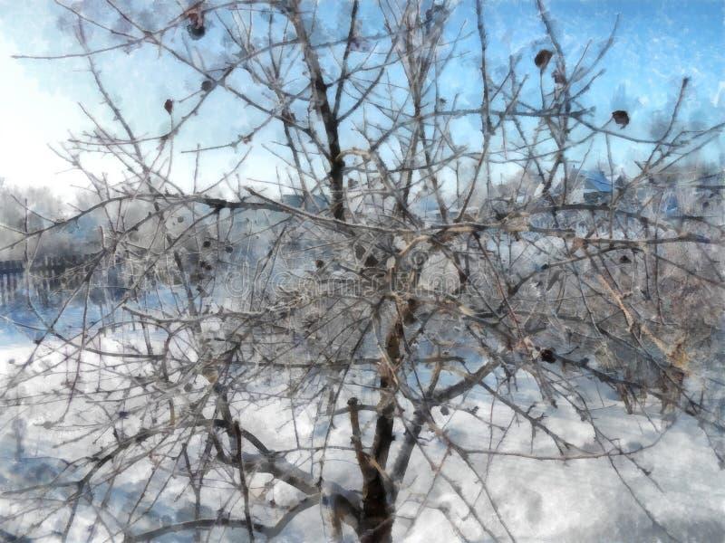 Un día claro del invierno, un paisaje rural con una cubierta rústica del jardín foto de archivo