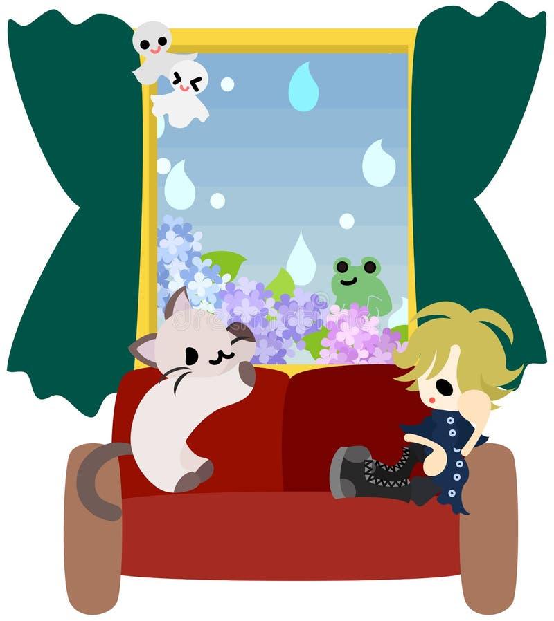 Un día lluvioso con un gato libre illustration