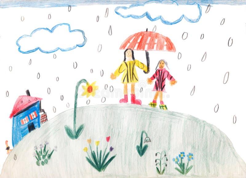 Libro Para Colorear Madre Hija Ilustraciones Vectoriales Clip: Dibujo De Los Niños Stock De Ilustración
