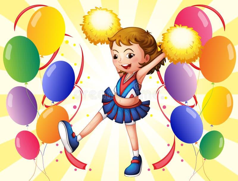Un dancing della ragazza pon pon in mezzo ai palloni illustrazione vettoriale
