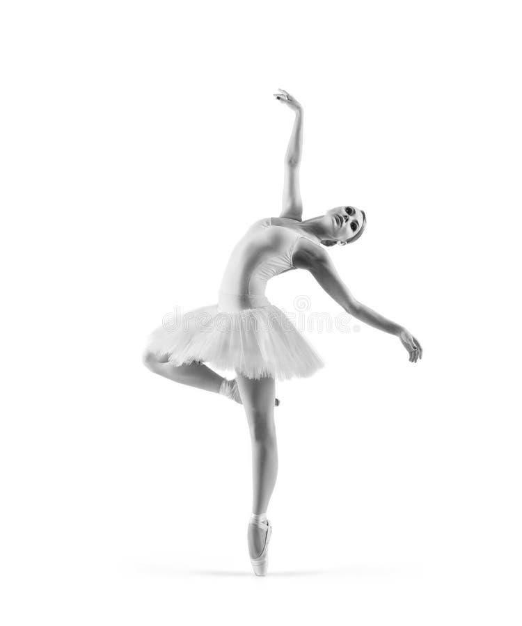 Un danseur classique féminin d'isolement sur le blanc image stock