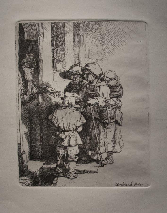 Un debitore cieco di organetto e la sua famiglia che ricevono le elemosine alla porta di una casa dal 1648 da Rembrandt immagini stock libere da diritti