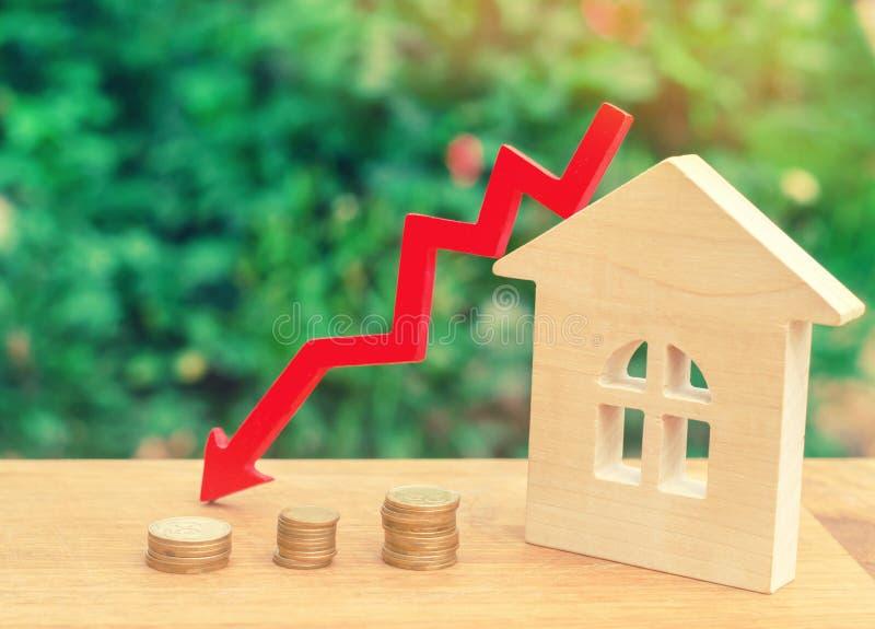 Un declino nei prezzi della proprietà concetto di spopolamento i di caduta immagine stock libera da diritti