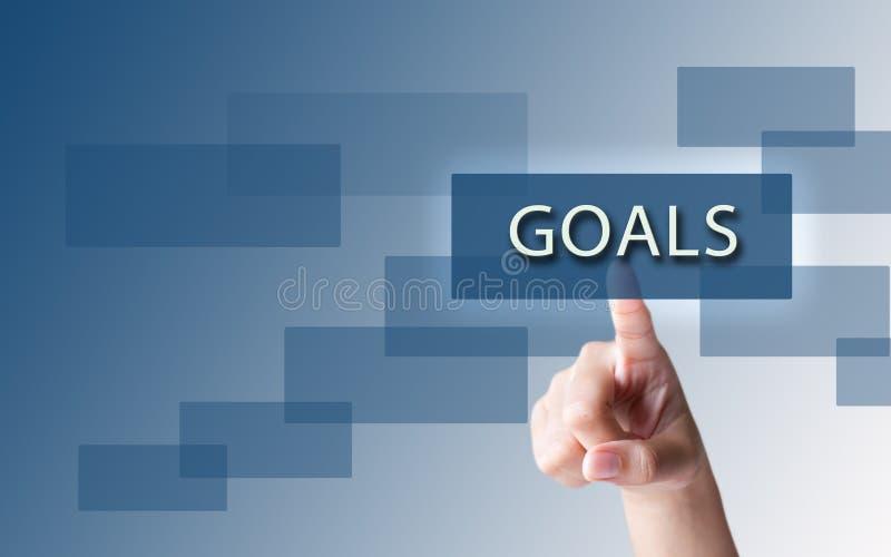 Un dedo que señala las metas de la palabra imagen de archivo