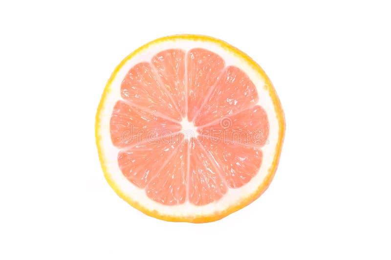 Un demi- d'un citron mûr avec une chair rose est sur un fond blanc image stock
