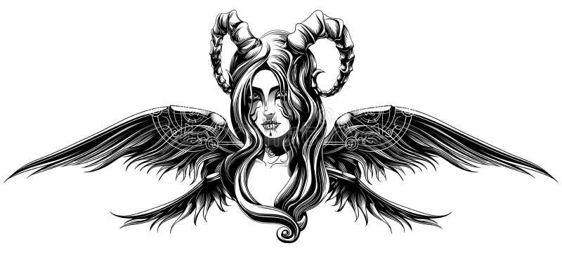Un demone con le ali illustrazione di stock