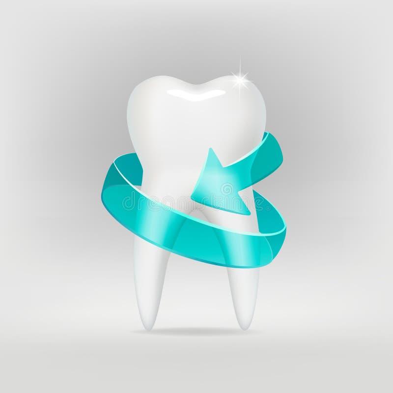Un dente bianco come la neve su fondo grigio, con una freccia protettiva Vettore illustrazione di stock