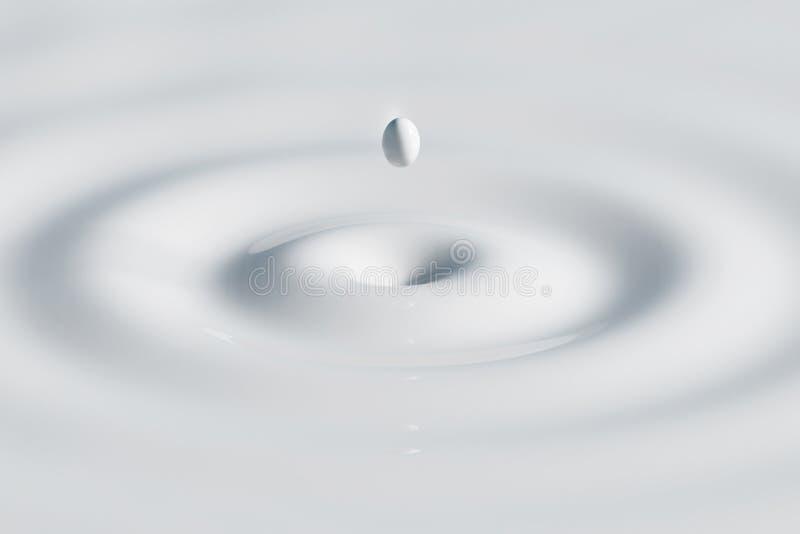 Un descenso de la leche blanca que baja en la superficie y que crea un divorcio - ejemplo 3D stock de ilustración