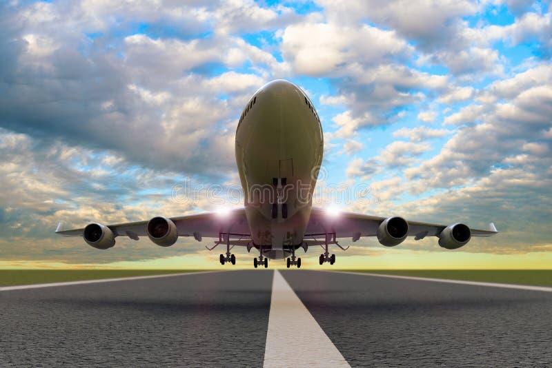 Un despegue/un aterrizaje comerciales del aeroplano en una pista ilustración del vector