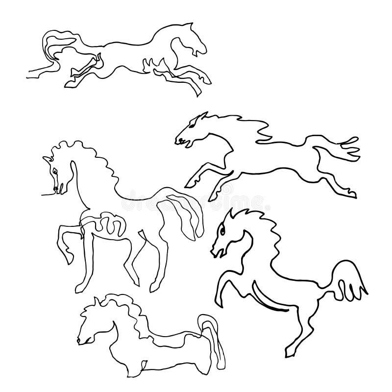 Un dessin au trait continu Chevaux Style de minimalisme illustration de vecteur