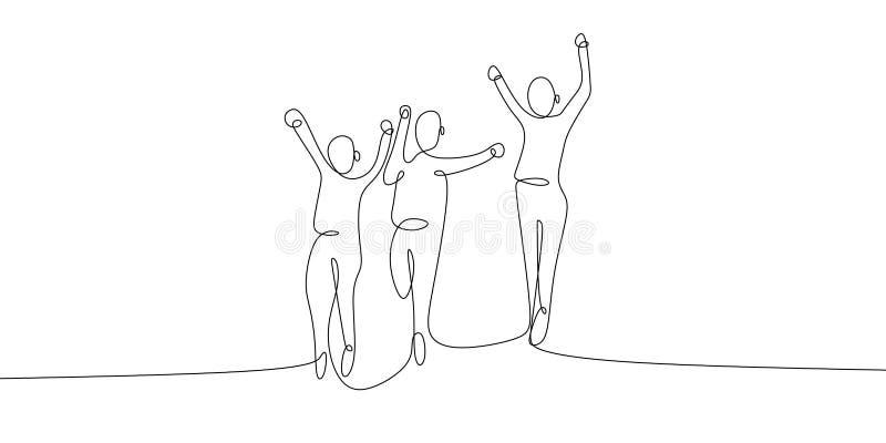 un dessin au trait continu d'illustration heureuse sautante de vecteur de célébration de quatre membres de l'équipe illustration de vecteur