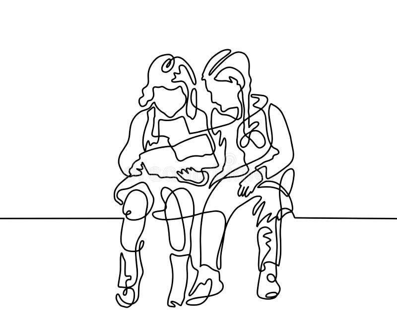 Un dessin au trait continu de deux filles se reposent et lisent illustration stock
