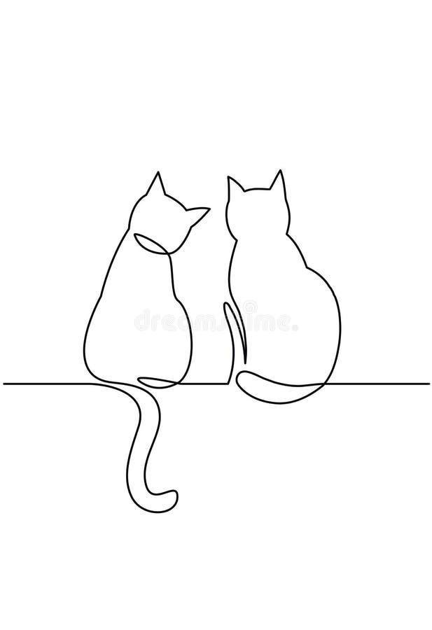 Un dessin au trait continu de deux silhouettes heureuses de chats illustration de vecteur