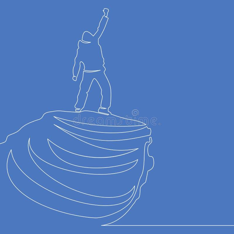 Un dessin au trait continu de l'homme sur le dessus du concept d'affaires de vecteur du monde illustration de vecteur