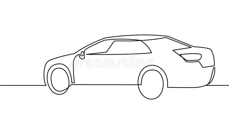 Un dessin au trait continu de voiture de tourisme d'illustration de vecteur illustration libre de droits