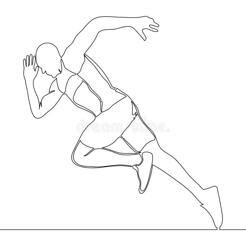 Un dessin au trait continu du fonctionnement d'athlète illustration de vecteur
