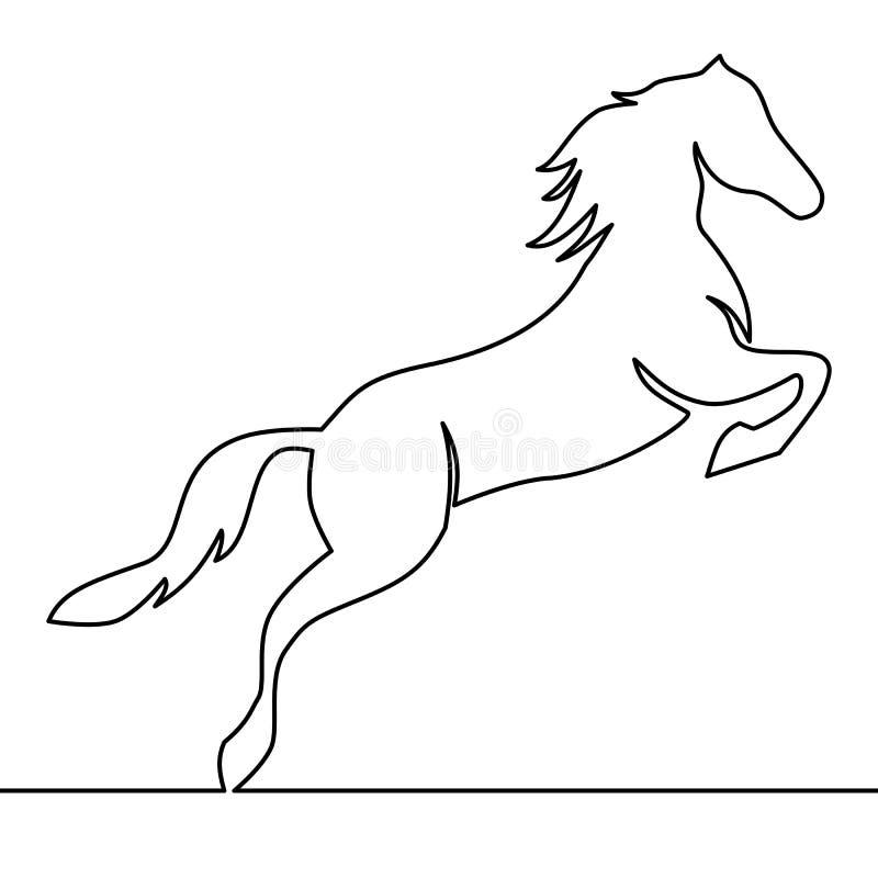 Un dessin au trait continu Vecteur de logo de cheval illustration stock