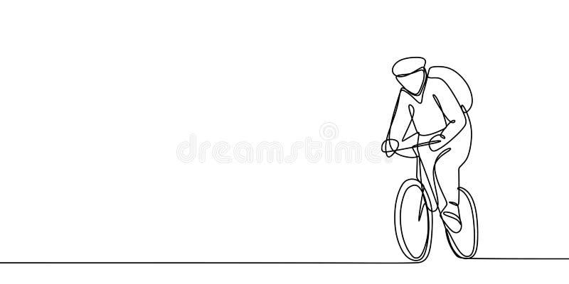 Un dessin au trait d'un athlète de bicyclette Illustration de vecteur illustration stock